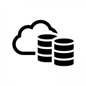 クラウドデータベースの白黒シルエットイラスト02