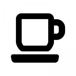 コーヒーカップの白黒シルエットイラスト04