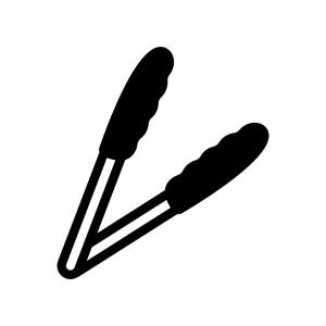 トングの白黒シルエットイラスト02