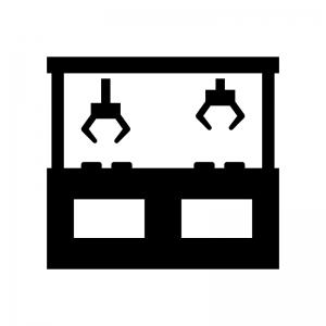 クレーンゲームの白黒シルエットイラスト03