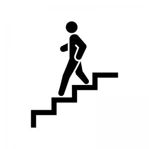 階段を下る白黒シルエットイラスト
