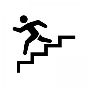 階段を下る白黒シルエットイラスト02