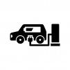 電気自動車の充電の白黒シルエットイラスト