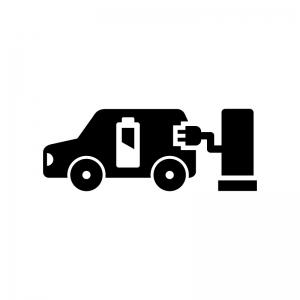 電気自動車の充電の白黒シルエットイラスト02