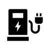EV車・充電スタンドの白黒シルエットイラスト