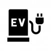 EV車・充電スタンドの白黒シルエットイラスト02