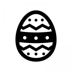 イースターエッグの白黒シルエットイラスト02