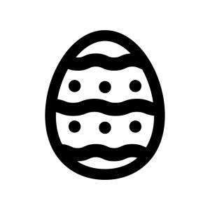 イースターエッグの白黒シルエットイラスト04