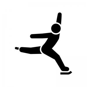 フィギュアスケートの白黒シルエットイラスト