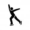 フィギュアスケートの白黒シルエットイラスト02