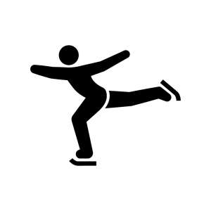 フィギュアスケートの白黒シルエットイラスト03