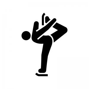 フィギュアスケートの白黒シルエットイラスト04