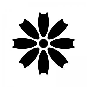 コスモスの白黒シルエットイラスト