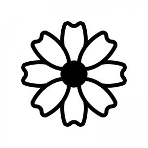 コスモスの白黒シルエットイラスト02