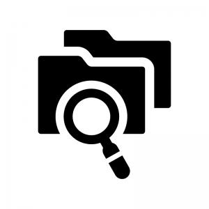 フォルダを検索の白黒シルエットイラスト06