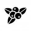 ブルーベリーの白黒シルエットイラスト
