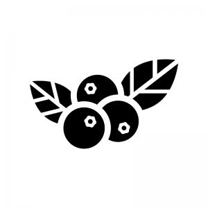 ブルーベリーの白黒シルエットイラスト02