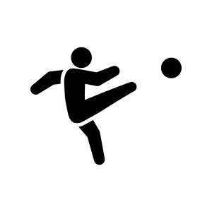 サッカーの白黒シルエットイラスト02