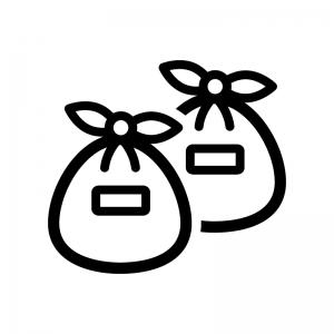 ゴミ袋の白黒シルエットイラスト02