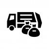ゴミ収集車・清掃車とゴミ袋の白黒シルエットイラスト