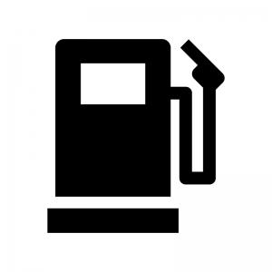 ガソリンスタンドの白黒シルエットイラスト02