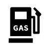 ガソリンスタンドの白黒シルエットイラスト03