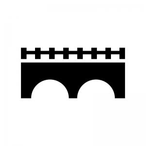 橋の白黒シルエットイラスト