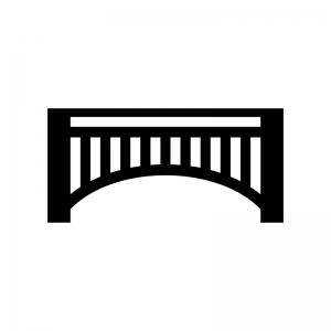 橋の白黒シルエットイラスト02