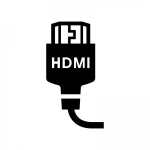 HDMIケーブルの白黒シルエットイラスト02