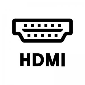 HDMIのソケットの白黒シルエットイラスト02