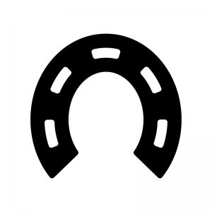 馬の蹄鉄の白黒シルエットイラスト03