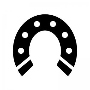 馬の蹄鉄の白黒シルエットイラスト04
