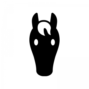 馬・サラブレッドの白黒シルエットイラスト