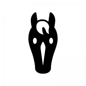 馬・サラブレッドの白黒シルエットイラスト02
