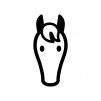 馬・サラブレッドの白黒シルエットイラスト03