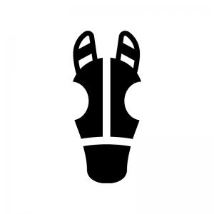競走馬・サラブレッドの白黒シルエットイラスト