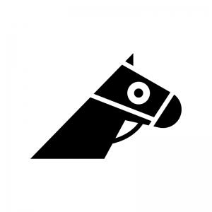 競走馬・サラブレッドの白黒シルエットイラスト02