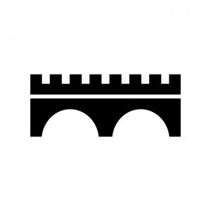 橋の白黒シルエットイラスト06