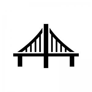 橋の白黒シルエットイラスト08