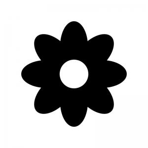 小花の白黒シルエットイラスト03