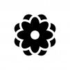 小花の白黒シルエットイラスト04