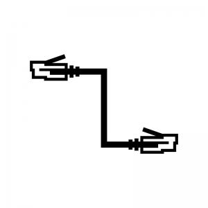 LANケーブルの白黒シルエットイラスト03