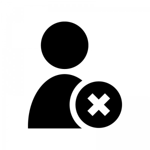人物とバツマークの白黒シルエットイラスト03