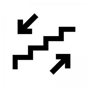 階段の白黒シルエットイラスト03
