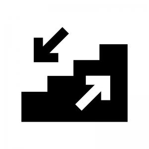 階段の白黒シルエットイラスト04