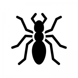 蟻の白黒シルエットイラスト