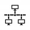 PCのLAN・ネットワークの白黒シルエットイラスト