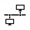 PCのLAN・ネットワークの白黒シルエットイラスト02