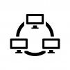 PCのLAN・ネットワークの白黒シルエットイラスト03
