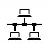 PCのLAN・ネットワークの白黒シルエットイラスト04